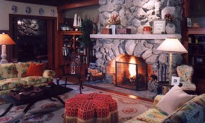 Living room stone fireplace.